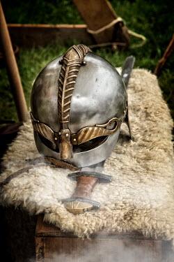 Nik Keevil ANCIENT HELMET ON SHEEPSKIN WITH SWORD Weapons