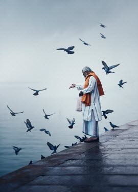 Ashraful Arefin ASIAN MAN FEEDING BIRDS BY WATER Men