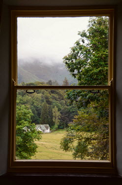Vesna Armstrong WINDOW WITH HOUSE IN MISTY COUNTRYSIDE Houses
