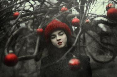 Svitozar Bilorusov DREAMY GIRL WITH RED BALLS ON TREE Women