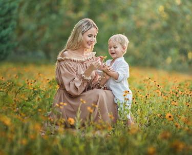 Lilia Alvarado MOTHER AND SON IN SUMMERY MEADOW Women