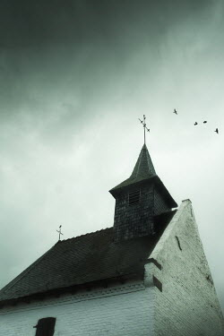 Maria Petkova CHURCH WITH BIRDS FLYING OVER Religious Buildings