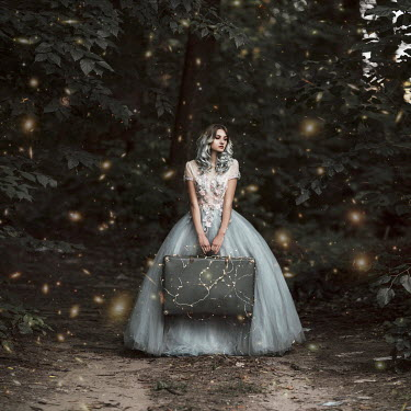 Jovana Rikalo GIRL IN GOWN CARRYING SUITCASE WITH LIGHTS Women