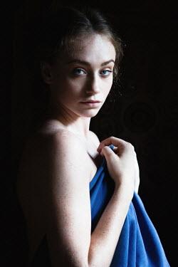 Magdalena Russocka girl with blue shawl looking at camera Women