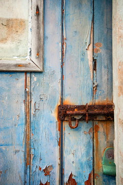 Sally Mundy WEATHERED BLUE DOOR WITH RUSTY BOLT Building Detail