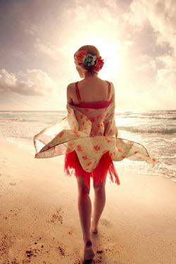 ILINA SIMEONOVA WOMAN WITH FLOWING SHAWL ON BEACH Women