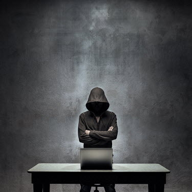 Paolo Martinez HOODED MAN LOOKING AT LAPTOP Men
