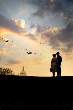Stephen Mulcahey A ww2 couple watching planes fly over London Couples