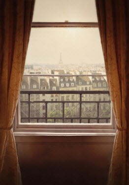 Lyn Randle PARIS WITH EIFFEL TOWER THROUGH WINDOW Miscellaneous Cities/Towns
