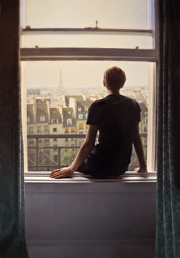 Lyn Randle MAN SITTING ON PARISIAN WINDOW LEDGE Men