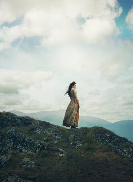 Mark Owen HISTORICAL WOMAN LOOKING OUT OVER MOUNTAINS Women