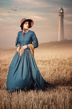 Magdalena Russocka historical woman in bonnet by lighthouse Women