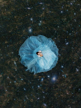 Jovana Rikalo WOMAN IN BLUE GOWN WITH FLOATING LIGHTS Women