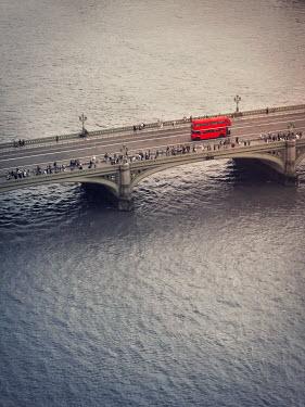 Emma Goulder RED BUS ON BRIDGE OVER RIVER Miscellaneous Transport