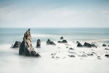 Evelina Kremsdorf JAGGED ROCKS IN FOGGY SEA Seascapes/Beaches