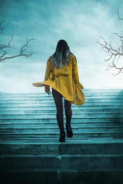 Ildiko Neer WOMAN CLIMBING UP STEPS IN WINTER Women