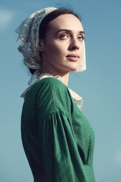 Magdalena Russocka historical woman in lacy cap outside Women