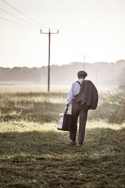 Andy & Michelle Kerry RETRO MAN WITH SUITCASE IN COUNTRYSIDE Men