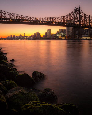 Paul Sheen NEW YORK BRIDGE WITH RIVER AT SUNSET Bridges