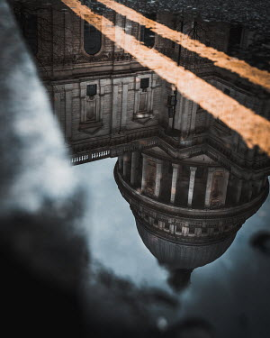 Paul Sheen BUILDING WITH DOME REFLECTED IN PUDDLE Miscellaneous Cities/Towns