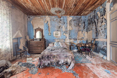 Christophe Dessaigne DERELICT BEDROOM OF OLD HOUSE Interiors/Rooms
