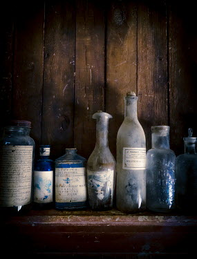 Jane Morley ROW OF OLD BLUE BOTTLES Miscellaneous Objects