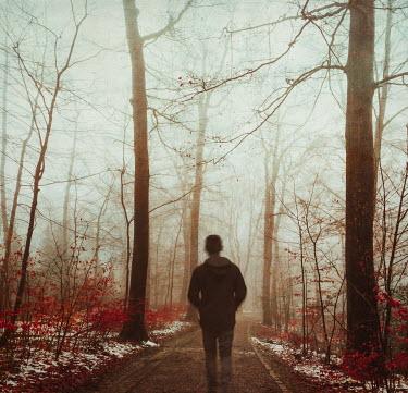 Dirk Wustenhagen MAN WALKING ON COUNTRY PATH IN WINTER Men
