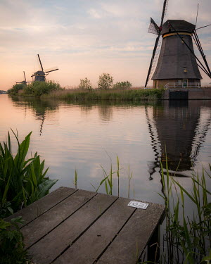 Paul Sheen LANDING STAGE AND WINDMILLS BY CANAL Miscellaneous Buildings