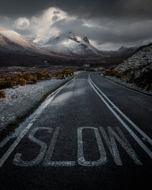 Paul Sheen SNOWY MOUNTAINS WITH EMPTY ROAD Roads