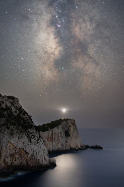 Ollie Taylor SEA WITH WHITE CLIFFS AND STARRY SKY Seascapes/Beaches