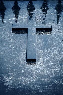 Miguel Sobreira WET CROSS ON GRAVESTONE Statuary/Gravestones