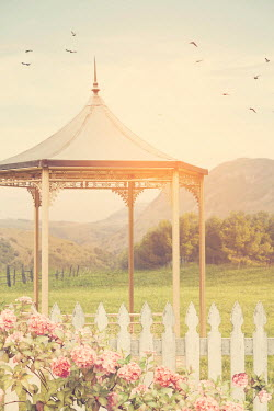 Victoria Davies GAZEBO IN SUMMERY GARDEN WITH COUNTRYSIDE Miscellaneous Buildings