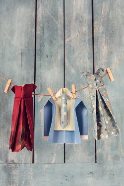 Kelly Sillaste PAPER CLOTHES HANGING ON LINE Miscellaneous Objects