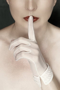 Manuela Deigert WOMAN WITH GLOVED FINGER ON MOUTH Women