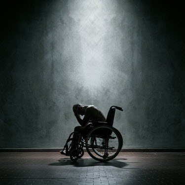 Paolo Martinez DEPRESSED MAN IN WHEELCHAIR INDOORS Men