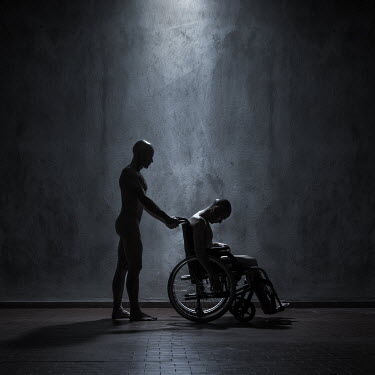 Paolo Martinez NAKED MALE PUSHING MAN IN WHEELCHAIR Men