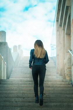 Ildiko Neer BLONDE GIRL CLIMBING STEPS IN CITY Women