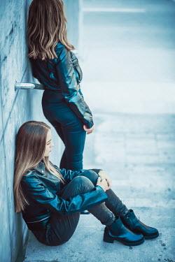 Ildiko Neer Two modern girls on city steps Women