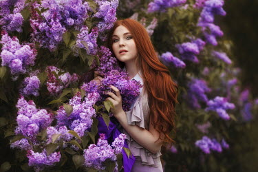 Beata Banach GIRL WITH RED HAIR BY LILAC BUSH Women