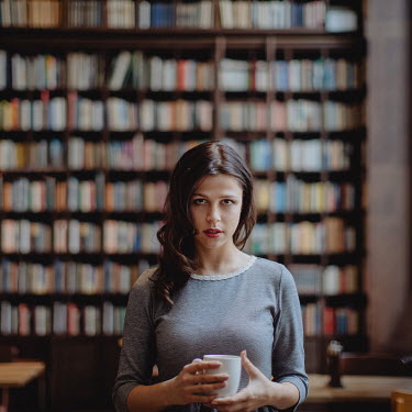 Dasha Pears GIRL DRINKING COFFEE IN LIBRARY Women