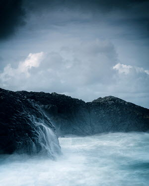 David Baker SEA WITH DARK CLOUDS AND ROCKS Seascapes/Beaches
