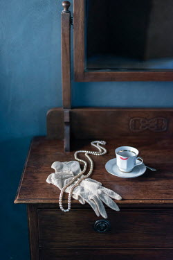 Ysbrand Cosijn WHITE GLOVES AND PEARLS ON DRESSING TABLE Interiors/Rooms