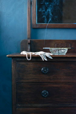 Ysbrand Cosijn WHITE GLOVES AND CIGARETTE ON DRESSING TABLE Interiors/Rooms