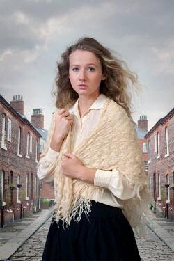 Lee Avison victorian woman on a cobbled terraced street Women