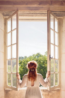 Holly Leedham WOMAN  AT WINDOW WATCHING SUMMERY COUNTRYSIDE Women