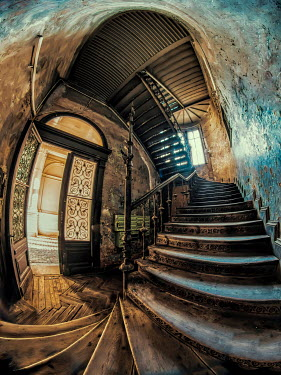 Jaroslaw Blaminsky INTERIOR OF OLD HOUSE WITH STAIRCASE Interiors/Rooms
