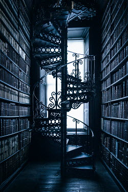Evelina Kremsdorf OLD LIBRARY WITH SPIRAL STAIRCASE Interiors/Rooms