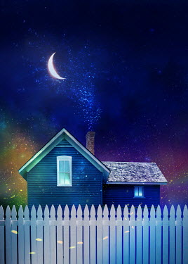 Sandra Cunningham HOUSE WITH FENCE MOON AND STARS Houses