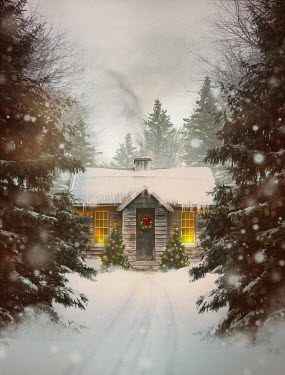 Sandra Cunningham CABIN IN SNOW WITH CHRISTMAS LIGHTS Houses