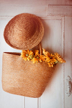 Sandra Cunningham HAT AND BAG WITH FLOWERS ON DOOR Flowers